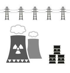 Nuclear power plant and radioactive barrels eps10 vector