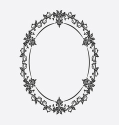 Oval vintage frame floral ornament vector