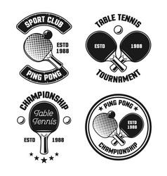 Ping pong set four vintage emblems vector