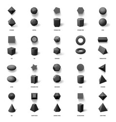realistic geometric 3d shapes basic geometric vector image
