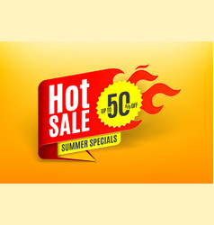 sales background template design with flame hot vector image