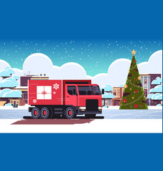 santa claus driving delivery van with gift box vector image