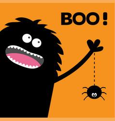 Screaming monster silhouette in the corner spider vector