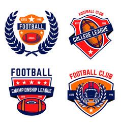 set of american football emblems design element vector image
