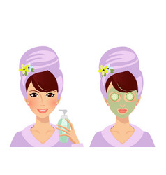 set of girl puts cream on face lady with clay vector image