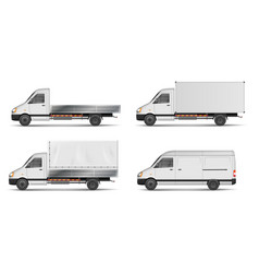 set of realistic white cargo vehicles vector image