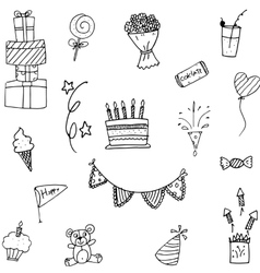 Set party doodle hand draw vector