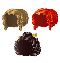 set vintage womens wigs for a holiday or a ball vector image