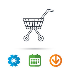 shopping cart icon market buying sign vector image