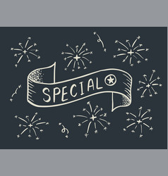 special banner hand drawn on dark background vector image