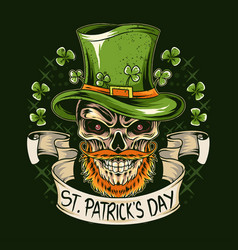 st patrick39s day skull wears a hat with vector image