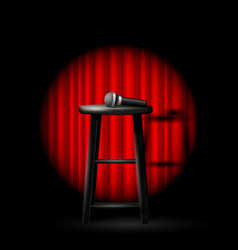 stand up comedy show - microphone and stool in vector image