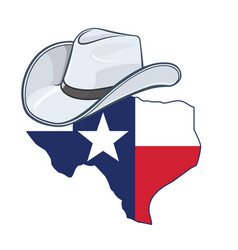 texas state map with flag and cowboy hat vector image