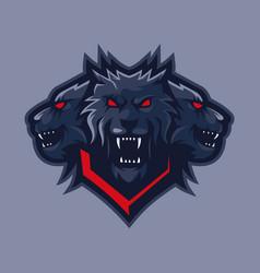 Three headed wolf mascot logo vector