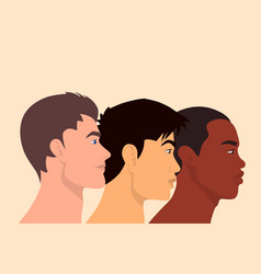 three multy ethnic men different nationalities vector image