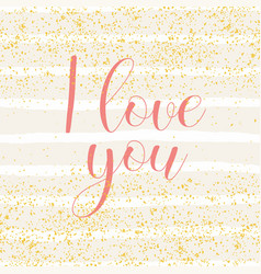 Tile card with pink i love you and stripes vector