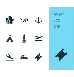 traveling icons set with diving departure vector image
