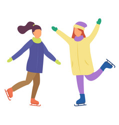 Two girls skating together active winter holidays vector