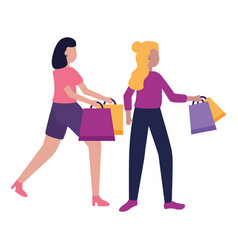 two women holding shopping bags vector image