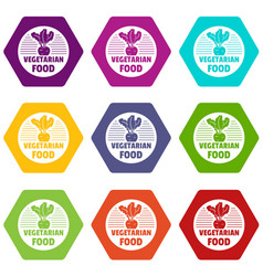 vegetarian food icons set 9 vector image