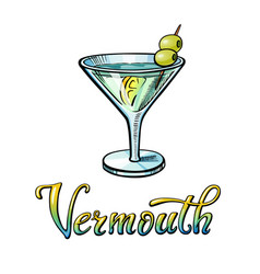 vermouth handwritten lettering vector image
