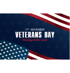 veterans day honoring all who served november vector image