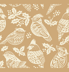 vintage seamless christmas pattern with ornamental vector image