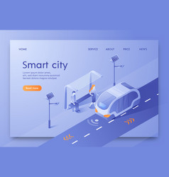 written smart city isometric vector image