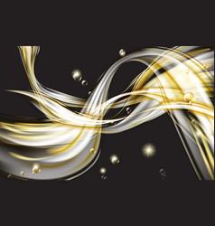 yellow golden flowing liquid abstract on black vector image