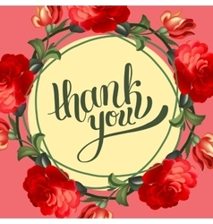 Calligraphic thank you post card with beautiful vector image vector image