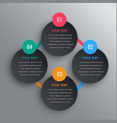 four steps infographic chart design in dark theme vector image vector image