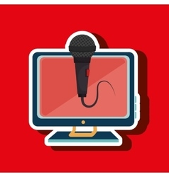 pc screen microphone speaker vector image