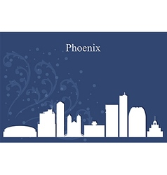 Phoenix city skyline on blue background vector image vector image