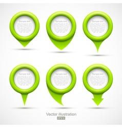 Set of green circle pointers vector image