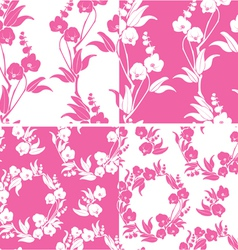 Set of Seamless pattern with orchids silhouette vector image