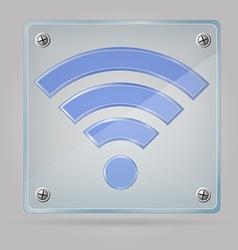 transparent sign wi fi on the plate 01 vector image vector image