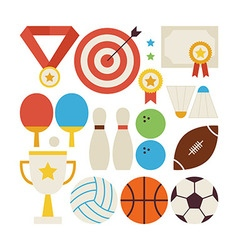 Flat Style Collection of Sport Recreation and vector image