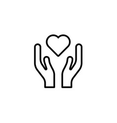 heart in hands icon on white background vector image vector image