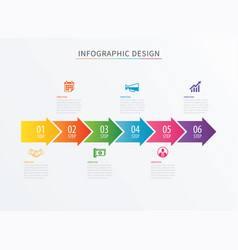 infographics arrow number 6 step template vector image vector image