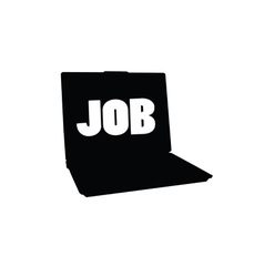 laptop silhouette and message for a job vector image