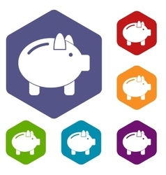 Piggy bank icons set vector image vector image