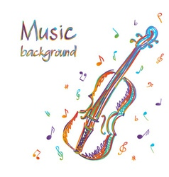 Violin music background with notes vector image