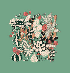 cactus and succulent seamless pattern vector image vector image