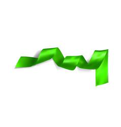 green realistic silk ribbon vector image