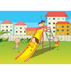 Kids playing on a slide vector image vector image