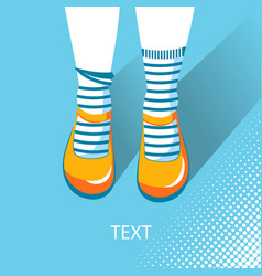 top view of girl feet with summer shoes vector image vector image