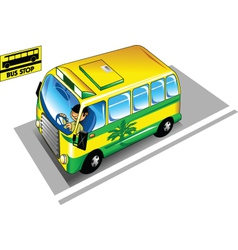 bus in the bus stop vector image