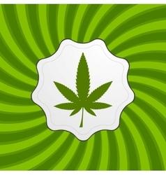 Green retro cannabis design element vector image