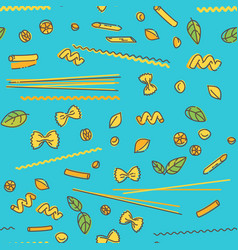 pasta and basil seamless pattern on blue vector image vector image