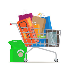 shopping trolley full of different purchases vector image